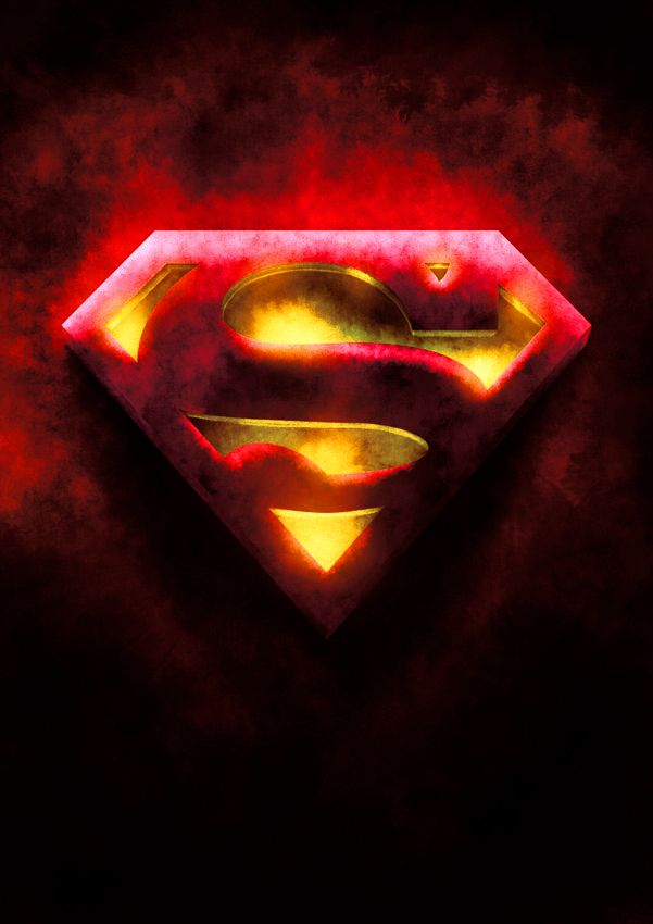 Red And Yellow Superman Symbol by on
