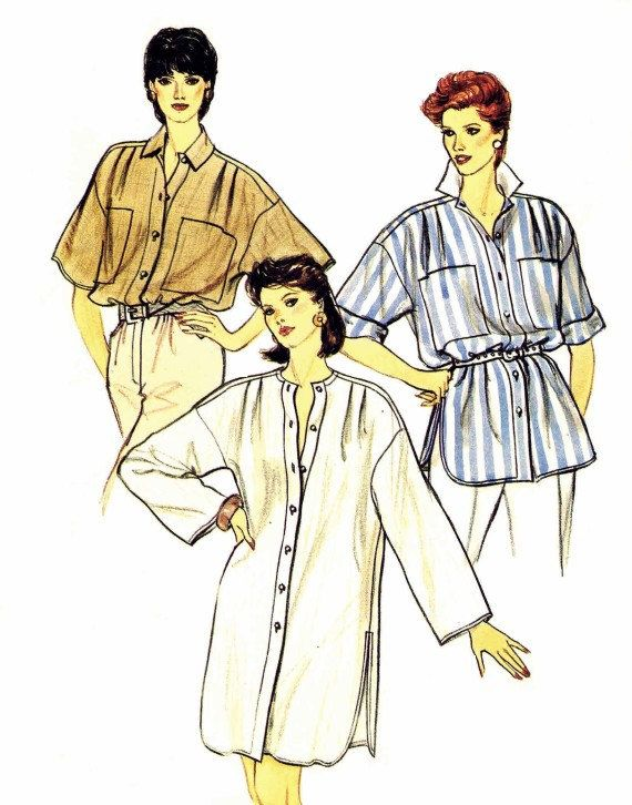 Womens Oversized Top Tunic Dress 1980s Vogue 8688 by patternshop, $6.99