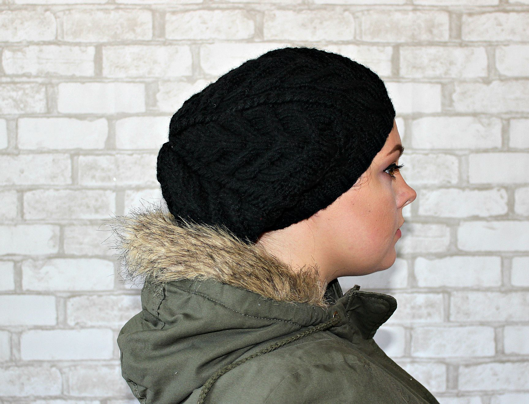 Black beret Oversized hat Slouchy beret Hat beret winter Knit beret wool Knitted  womens hat Slouchy Beret Wool Present for wife cable hat *****READY TO ...
