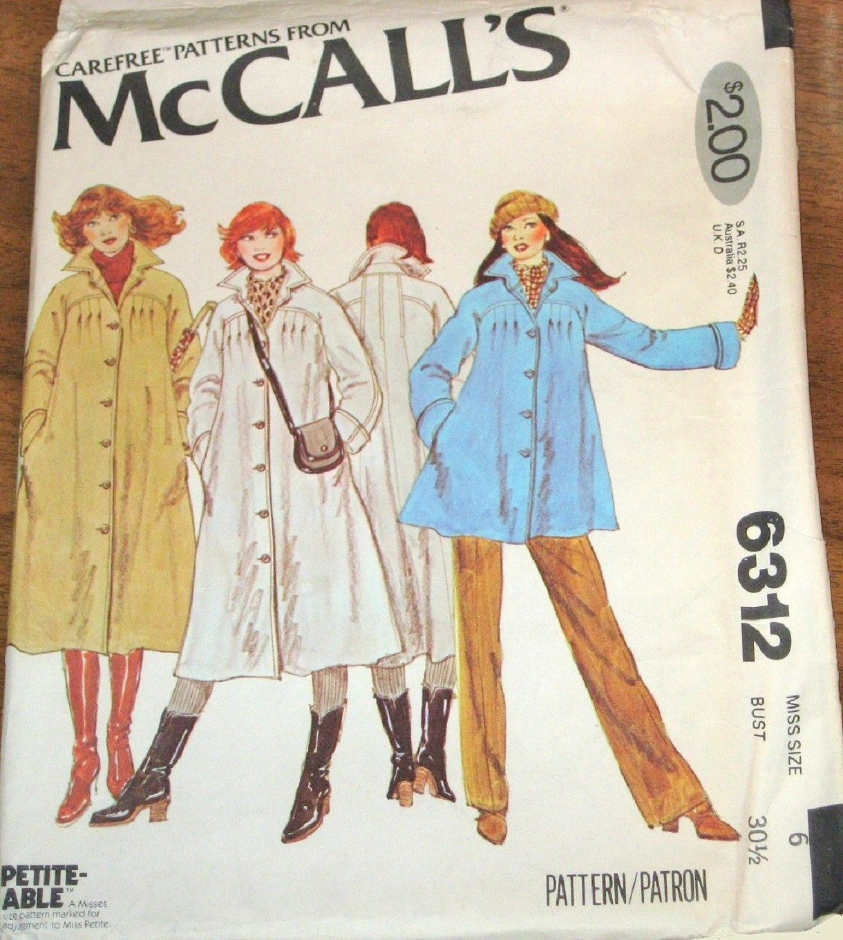 Vintage 1970s McCall\'s Sewing Pattern 6312, Swing Coat, Lined ...