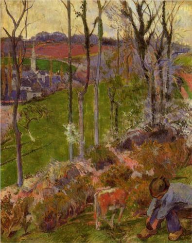 Petit Breton arranging his shoe, or Landscape at Pont-Aven, Brittany - Paul Gauguin