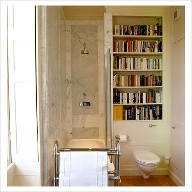 Nathan would love this many books in the bathroom :) (but wouldn't they get wrinkled from condensation?)
