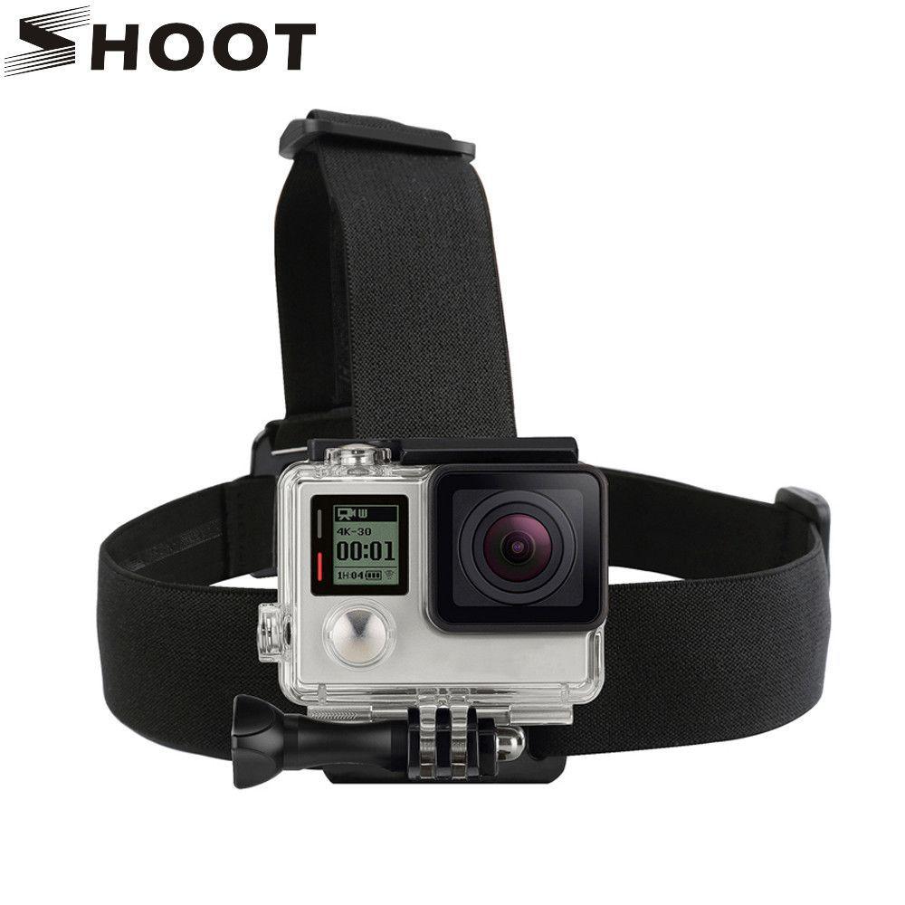 SHOOT Black Elastic Head Strap Mount For GoPro Hero 4 3 5 Session SJCAM SJ4000 SJ5000 Xiaoyi 4K Camera Harness Go Pro Accessory