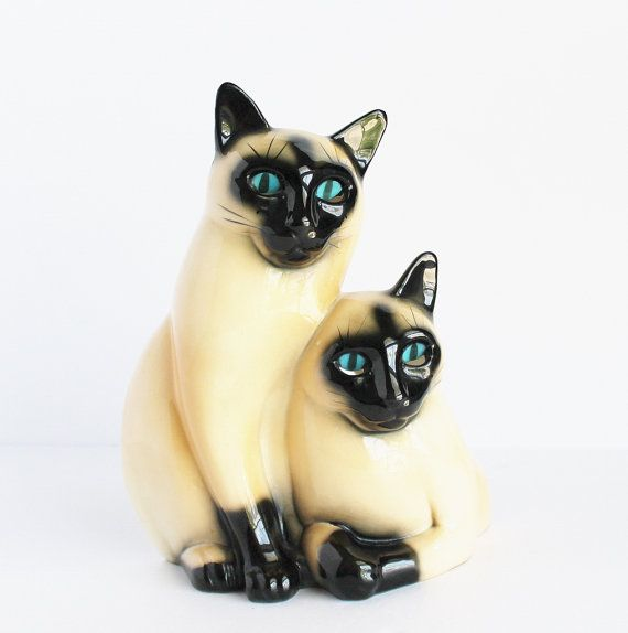 Mid Century Claes Pottery Siamese Cat Tv Lamp Hand Painted Eyes