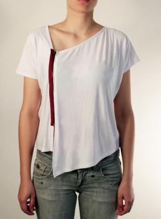 White Tshirt with Short Sleeves and Pink Zipper,  Tee, tshirt top  international ship  customizable, Urban / Streetwear
