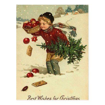Victorian Christmas Vintage Retro Art Postcard - christmas cards