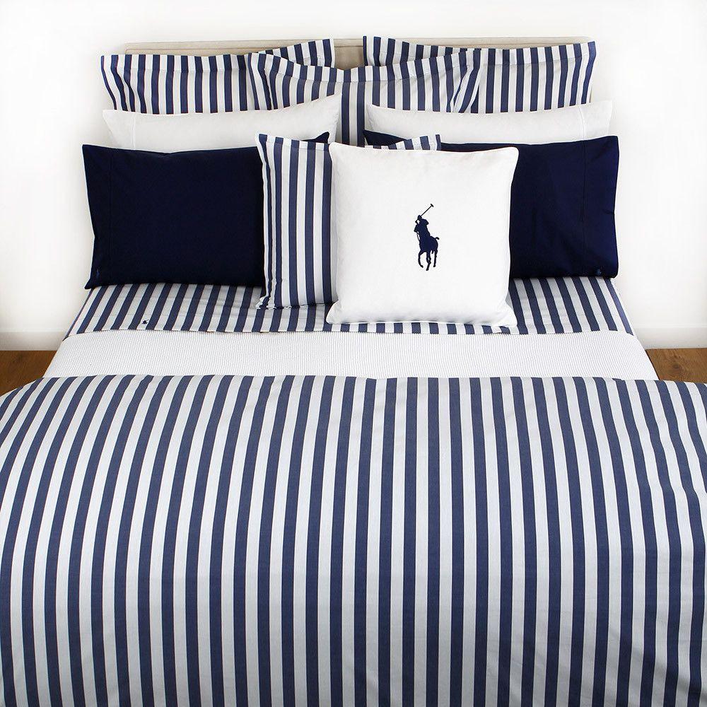 Discover The Ralph Lauren Home Club Stripe Navy Duvet