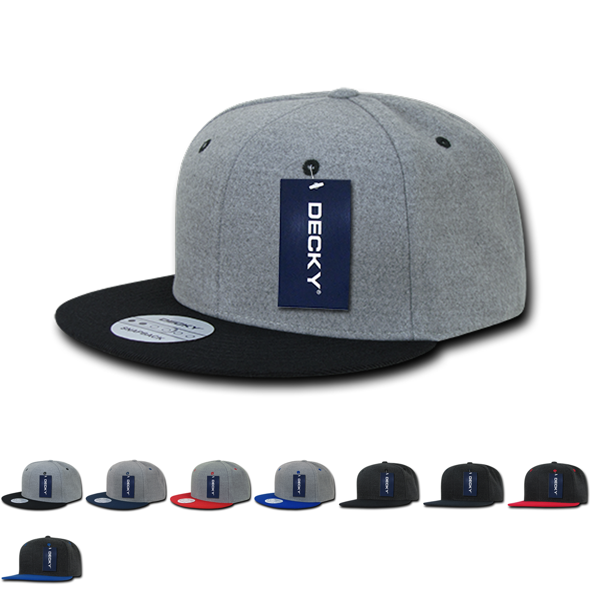 Wholesale Blank Melton Wool Flat Bill Snapback Hats Decky 1087 Snapback Hats Wholesale Blanks Melton