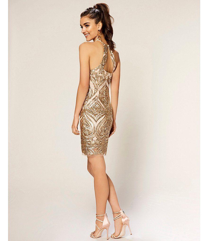 B darlin halterneck sequinpattern sheath dress homecoming queen