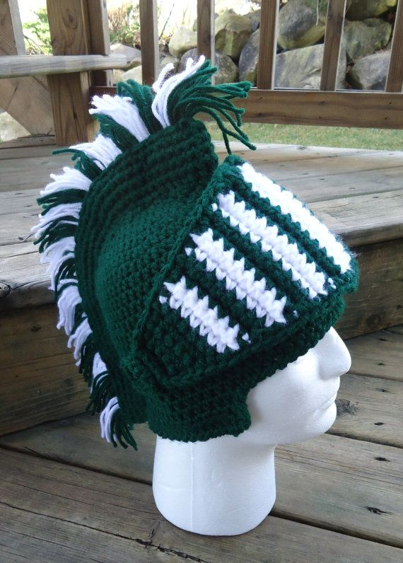 Spartan Helmet - Michigan State - Crochet Hat by TheLochOfTheIrish ... d043535791d