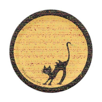 Arching Black Cat and Full Moon Festive Paper Plate - halloween - halloween decorations black cat