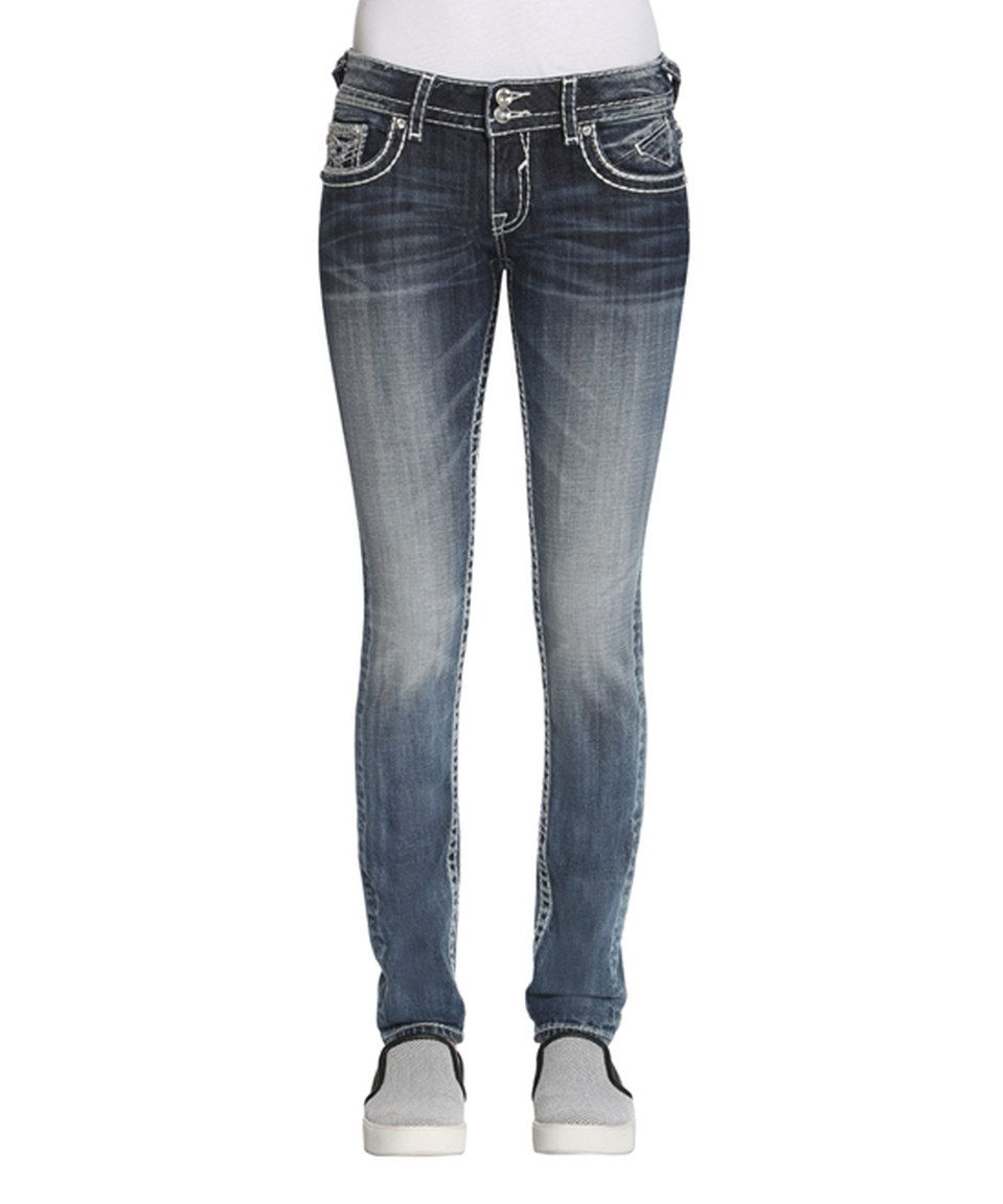 Another great find on #zulily! Vigoss Medium Wash Rhinestone Faux Leather-Trim Chelsea Bootcut Jeans by Vigoss #zulilyfinds