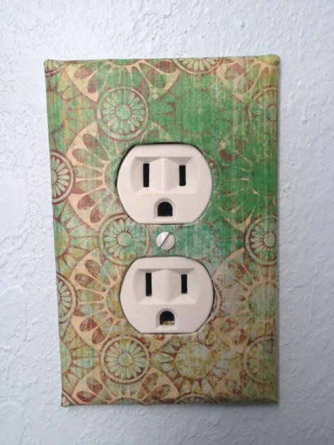 Handmade Custom Green Brown Pattern Decorative Accent Outlet Cover ...