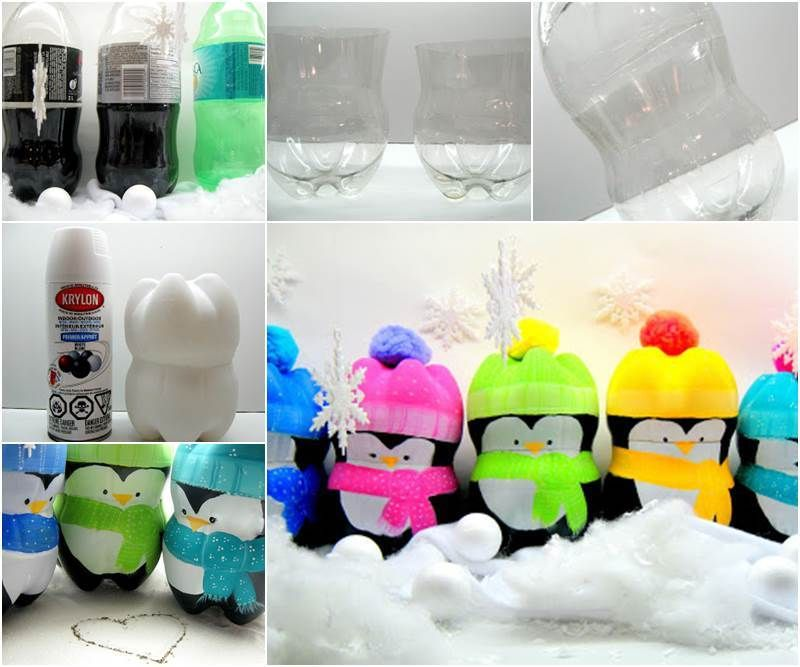 Creative ideas diy cute penguins from plastic bottles for Diy plastic bottle
