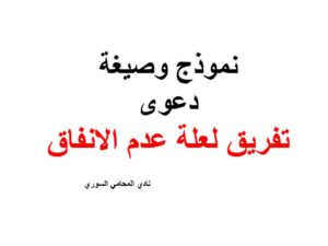 نموذج وصيغة دعوى تفريق لعلة عدم الانفاق نادي المحامي السوري Arabic Calligraphy Calligraphy