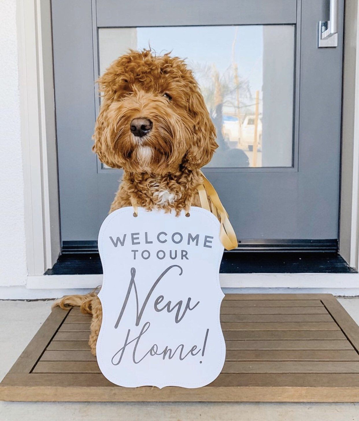 Photo of Welcome to Our New Home! Custom Announcement Sign Photo Shoot Special Occasion Dog Sign Photo Prop Sign