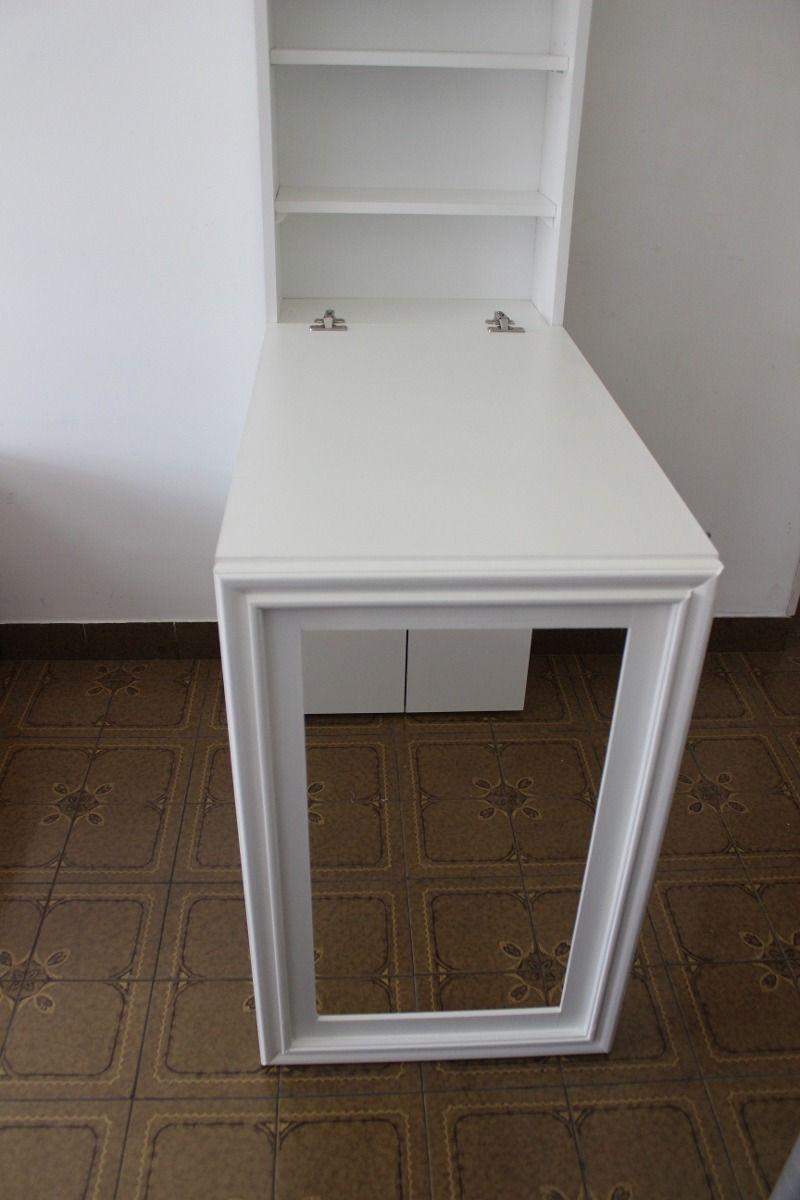 Escritorio mesa plegable pared con espacio de guardado for Mesa abatible pared cocina