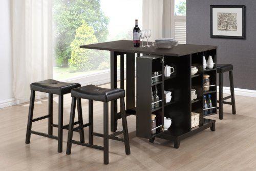 Baxton Studio 5-Piece Aurora Modern Pub Table Set with Cabinet Base, Dark Brown