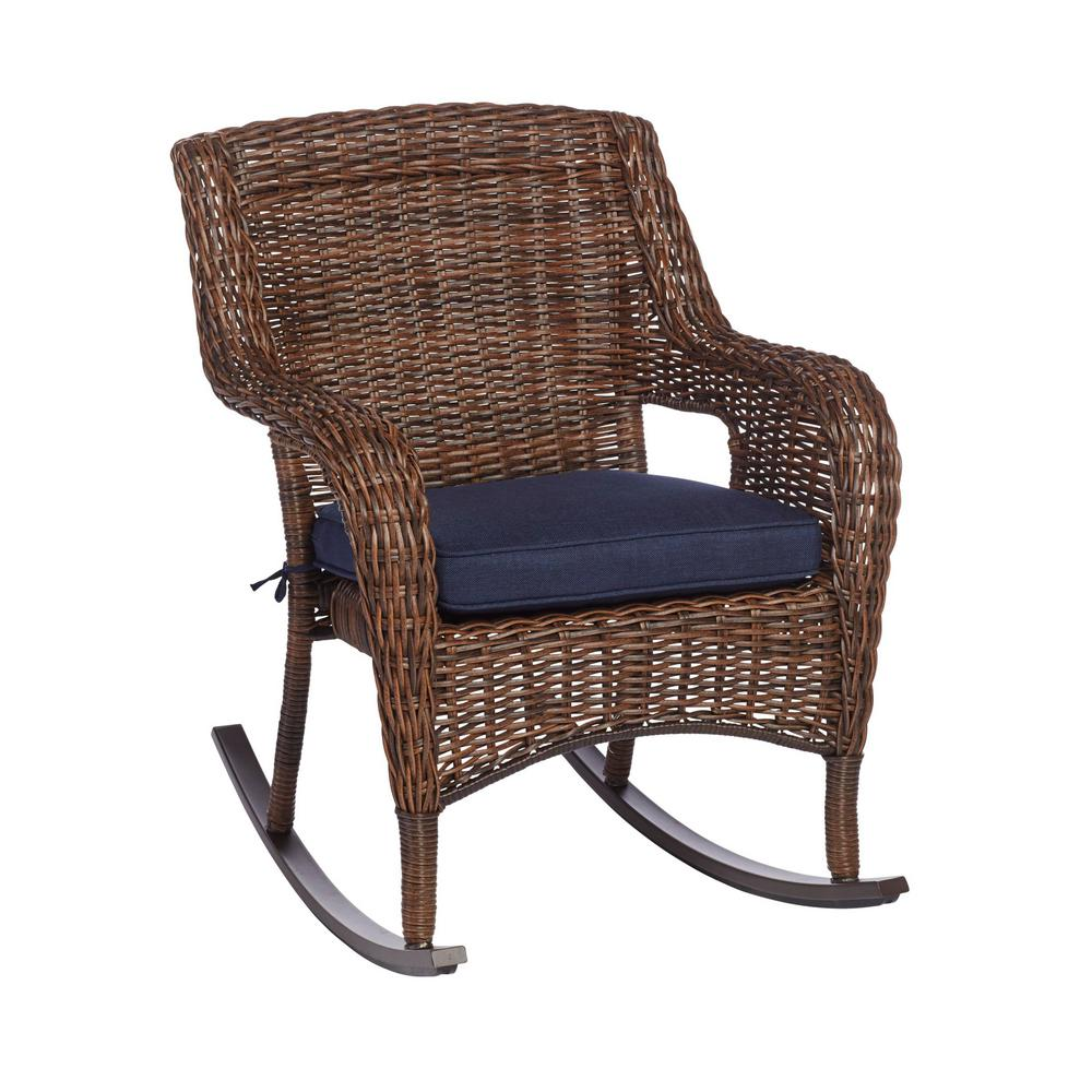 Hampton Bay Cambridge Brown Wicker Outdoor Patio Rocking Chair With Standard Midnight Navy Blue Cushions 65 17148br The Home Depot Rocking Chair Outdoor Wicker Rocking Chairs Patio Rocking Chairs