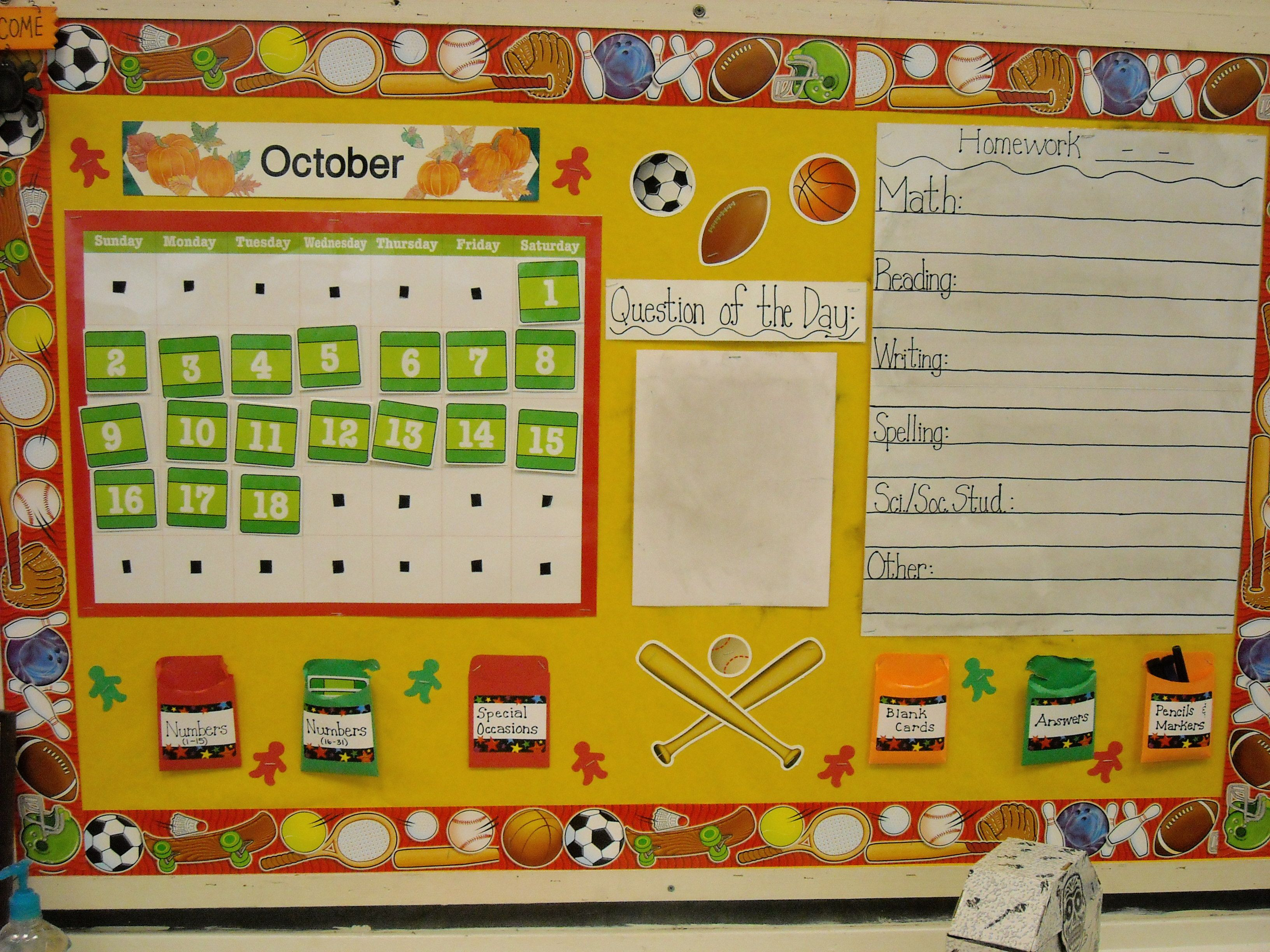 Morning Message Board - sports theme | Originals - school ...