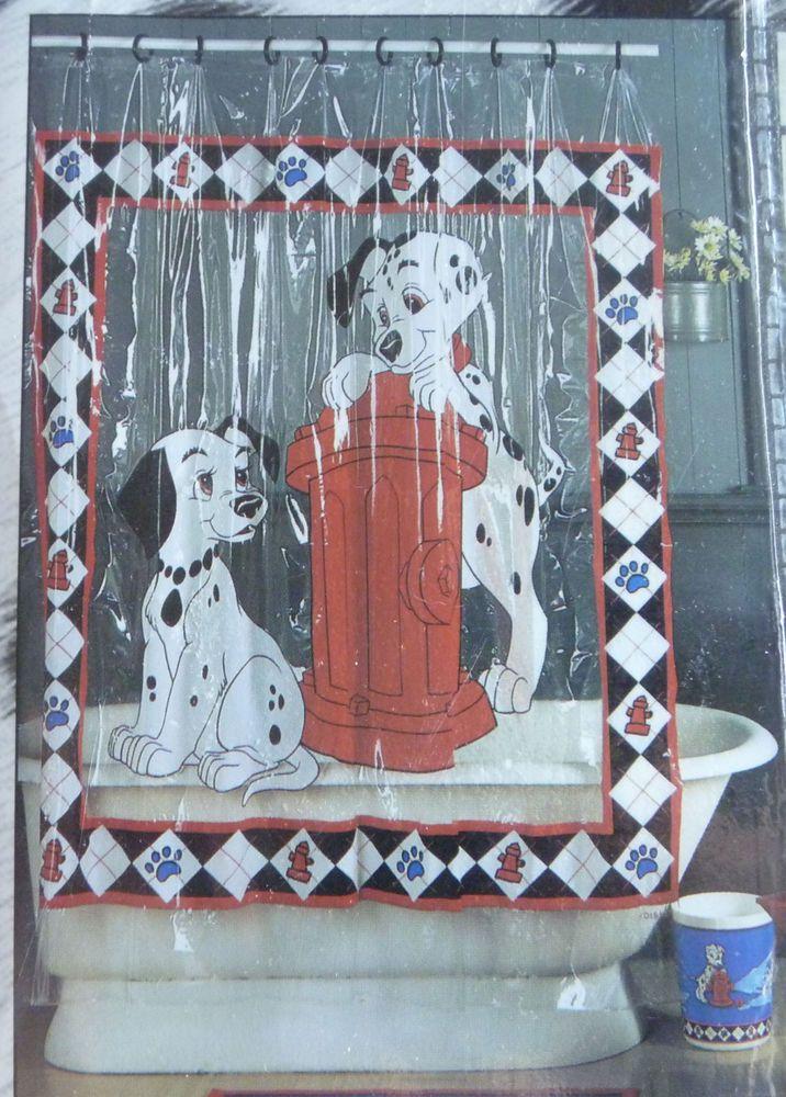 101 Dalmatians Shower Curtain 70x72 Inch Vinyl Disney Playtime BRAND NEW RARE DogsFireHydrant