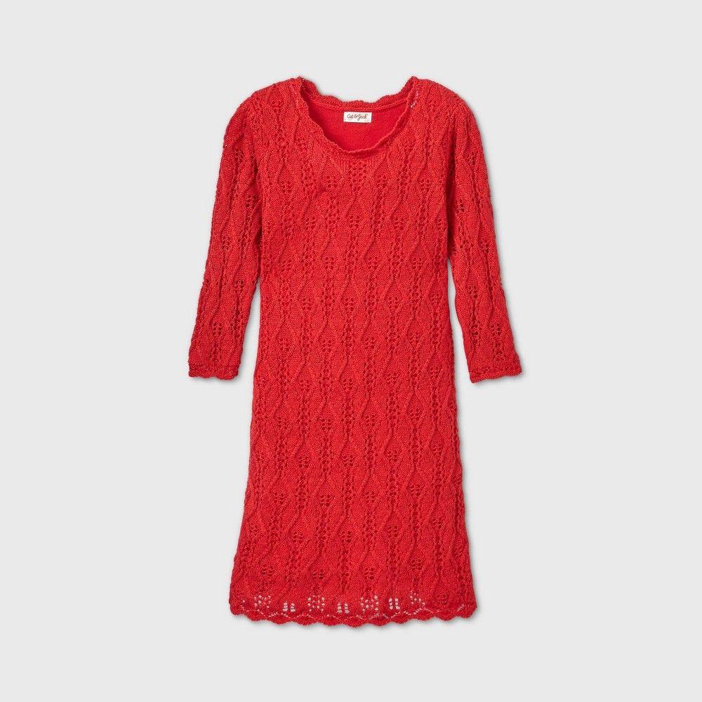 Girls 3 4 Sleeve Shine Crochet Sweater Dress Cat Jack Red Xl Crochet Sweater Dress Sweater Dress Cotton Sweater Dress [ 1000 x 1000 Pixel ]