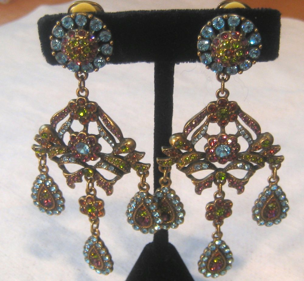 Early heidi daus mesmerizing colorful crystals chandelier clip crystal clip on chandelier fashion earrings ebay arubaitofo Choice Image