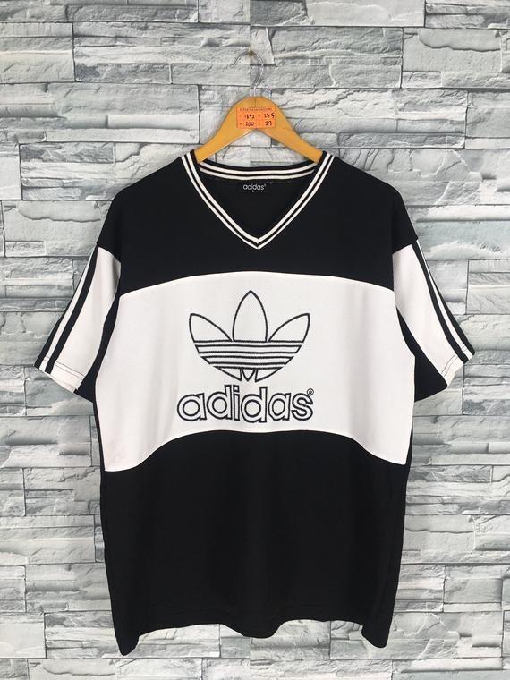 81cb0281887d5 ADIDAS TREFOIL Jersey Large Vintage 90's Adidas Big Logo Streetwear ...