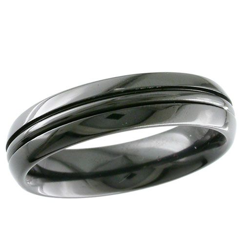 Dome Profile Black Zirconium GETi Ring with Central Rail This ring