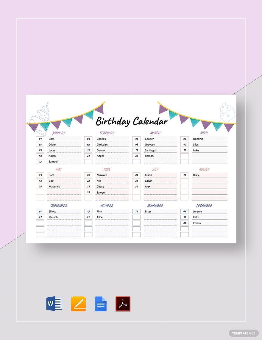 Free Birthday Calendar Template Pdf Word Doc Apple Mac Pages Google Docs Birthday Calendar Free Birthday Stuff Baby Due Date Calendar