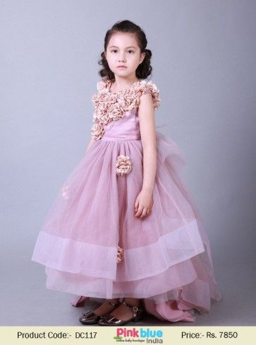 Little Princess Floor Length Ball Gown Evening Dress With Flowers