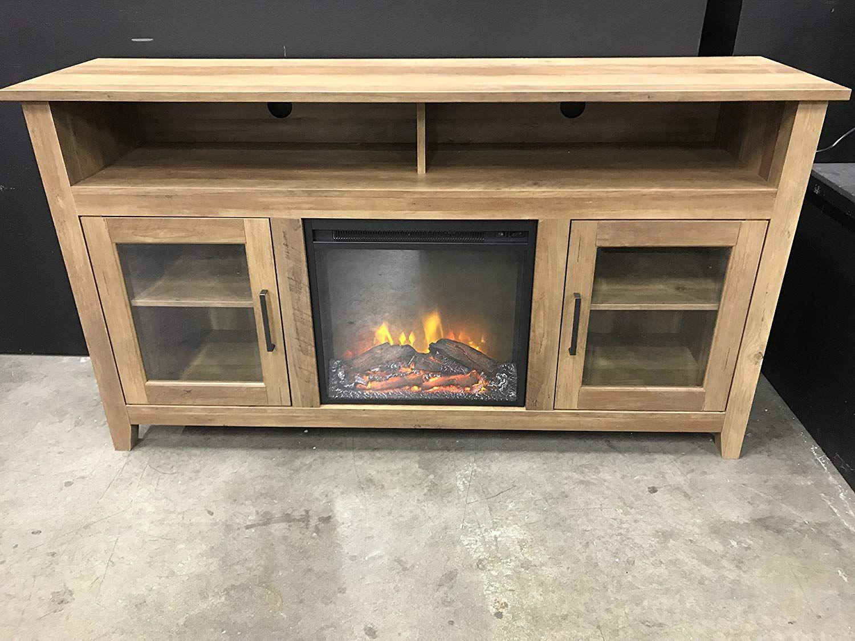 Amazon Com New 58 Inch Wood Highboy Fireplace Tv Stand Rustic Oak
