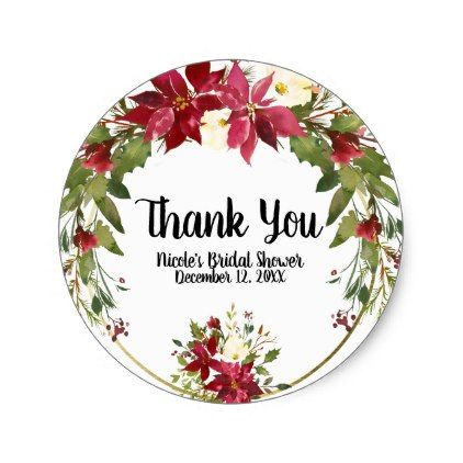 Christmas Holiday Poinsettia Flower Winter Floral Classic Round Sticker