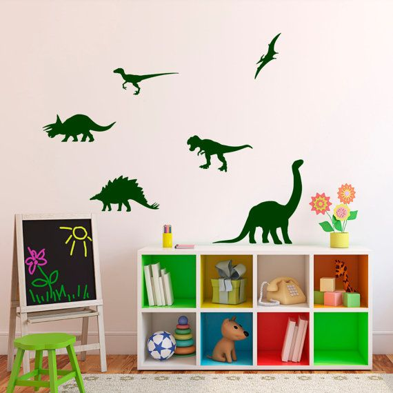 68dfeedfdbbb23 Dinosaur Silhouette Wall Decals - Kids Educational Wall Stickers ...