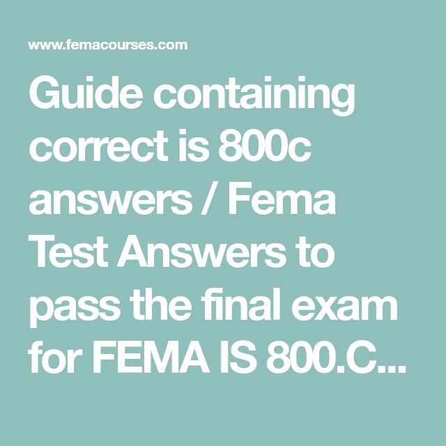 Fema Is 800c Answers National Response Framework Femacourses