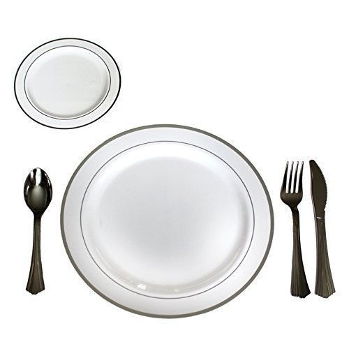 Disposable Cutlery Plate Set 120 Pieces Plastic Complete Utensil Kit Multi Use | Utensils  sc 1 st  Pinterest : disposable cutlery and plates - pezcame.com