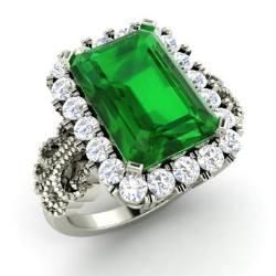 Emerald-cut Emerald and Diamond  Ring in 14k White Gold (4.56 ct.tw.) - Princess