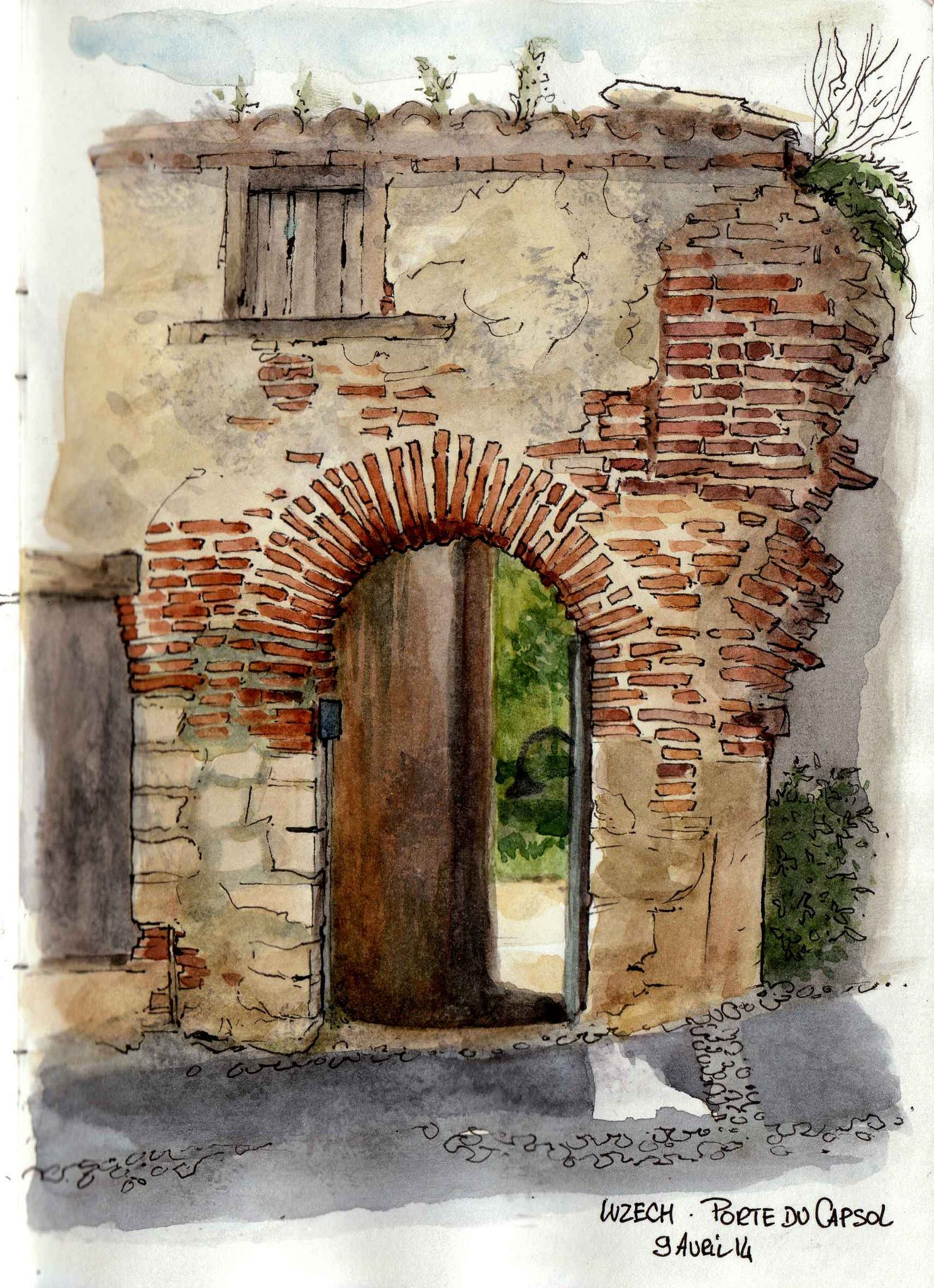 La porte du capsol une taxe encore aquarell for Architektur aquarell