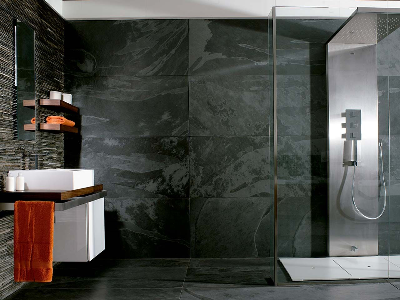 porcelanosa's black slate wall tiles for stylish bathroom / wall