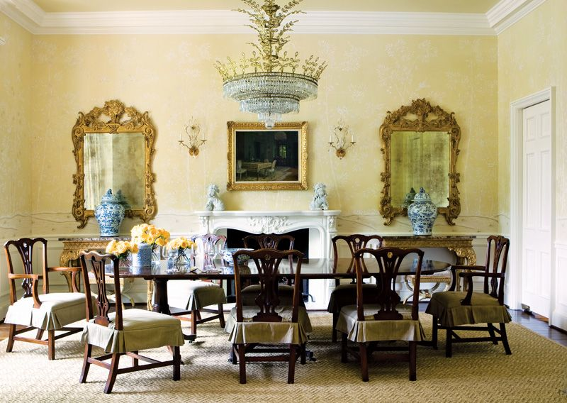 Beautiful Formal Dining Rooms Elegant Decorating Ideas Part - 4: Formal Dining Room Chippendale Chair Gilded Mirrors Elegant Home Decor