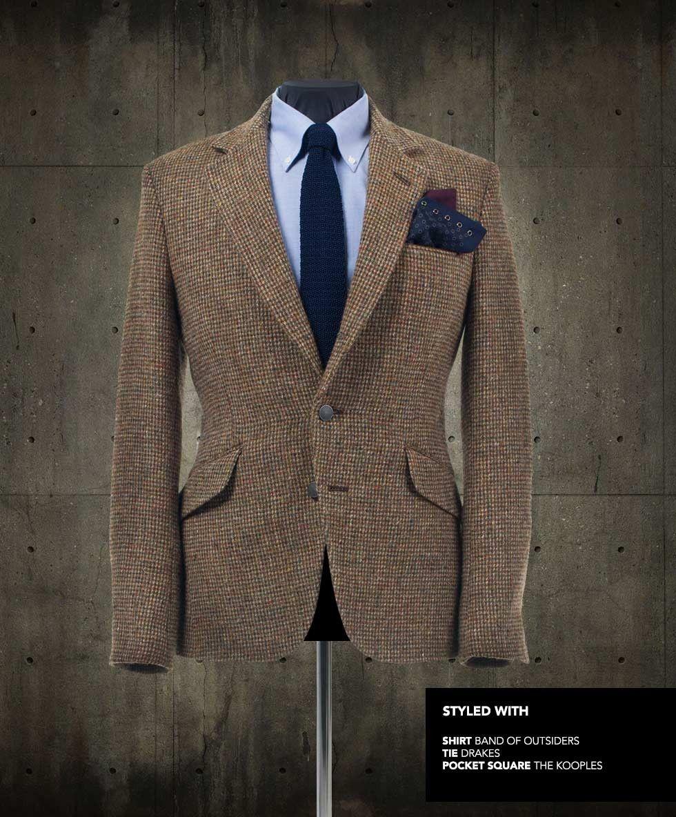 Mens jacket pocket handkerchief - Blake Harris Tweed Blazer Styled With Shirt Tie And Pocket Square Tweed Blazer Mentweed Jacketjacket