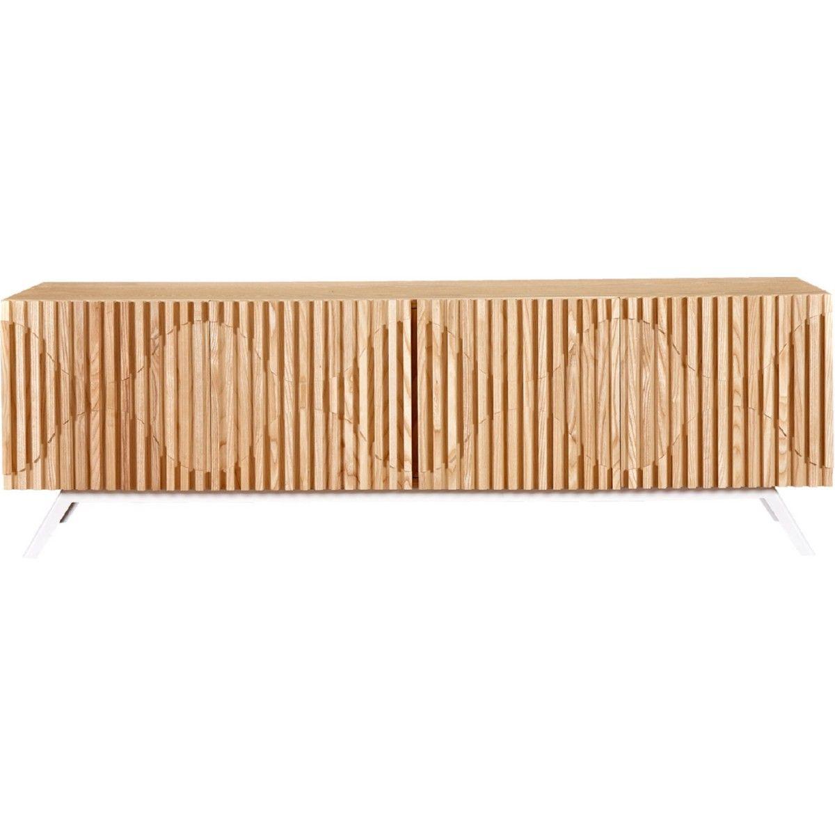 Harkavy furniture focuses on modern pieces made of wood and steel - Nyekoncept Modern Furniture Oskar Vertical Slat Sideboard Buffet W Stainless Steel Legs Natural