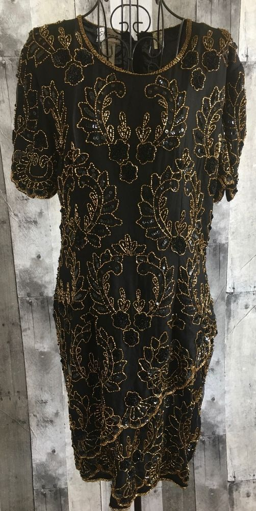 6535ad8d4ee97 Vintage Stenay Silk Sequin Bling Beaded Dress Asymmetric Scalloped Black  Gold 12