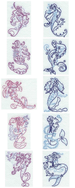 Art Deco Mermaids Embroidery Machine Design Details | Unfading ...