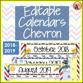 Editable Calendars 2018-2019 Chevron - July 2018 to December 2019