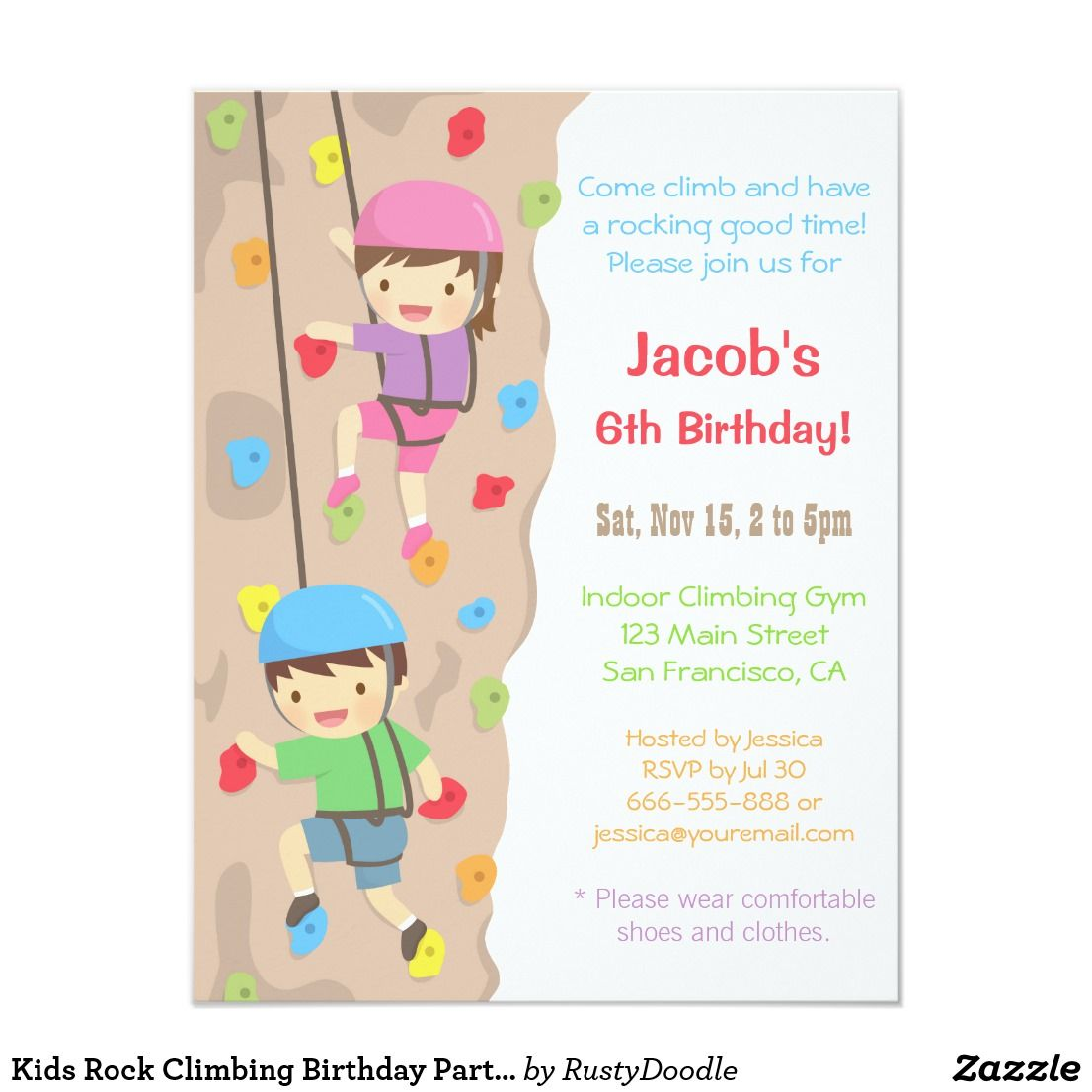 Kids Rock Climbing Birthday Party Invitations | Party invitations ...