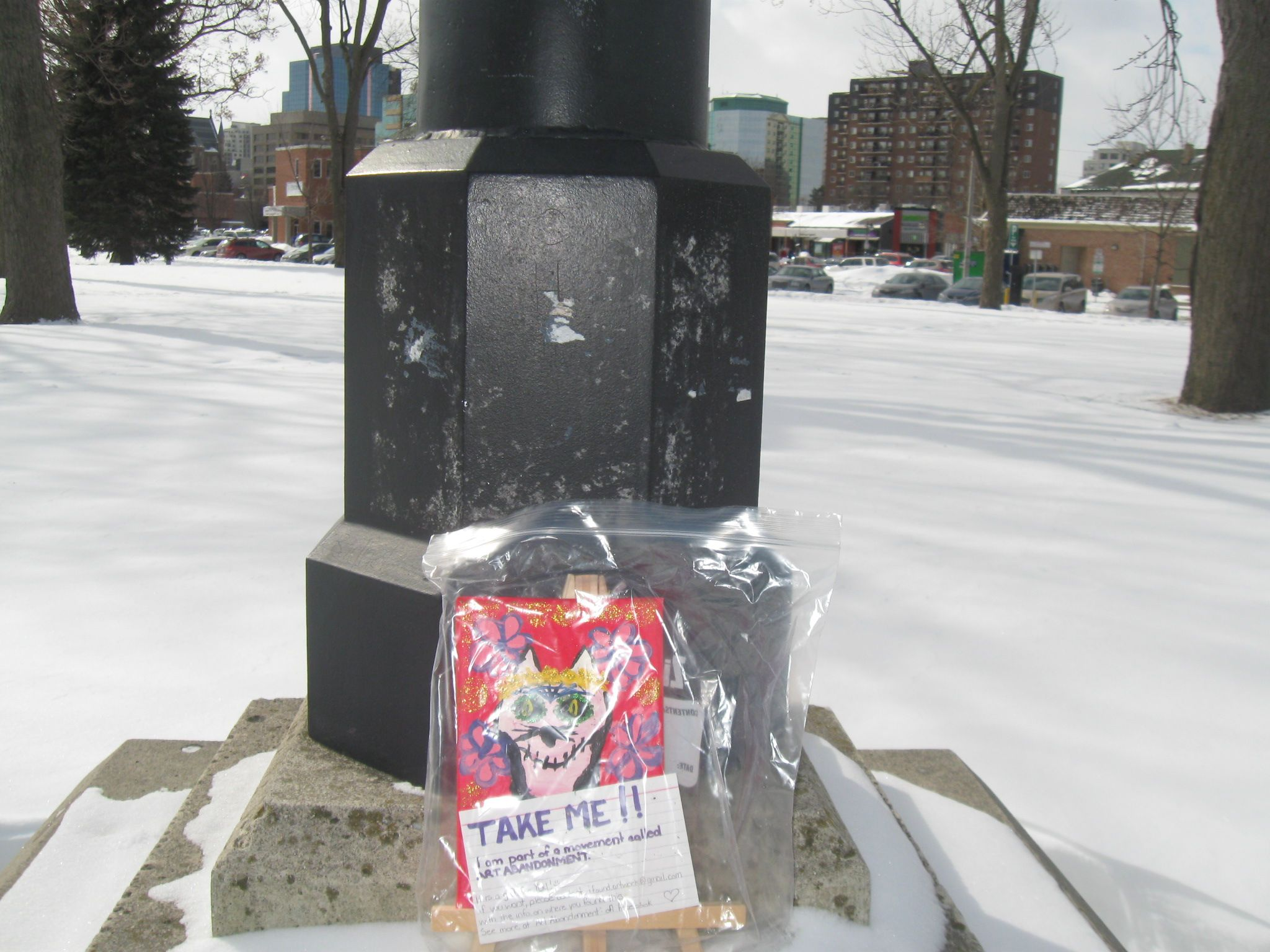 Art abandonment.  A piece of art left (by me) for anyone that finds it.  London, Ontario, Canada.
