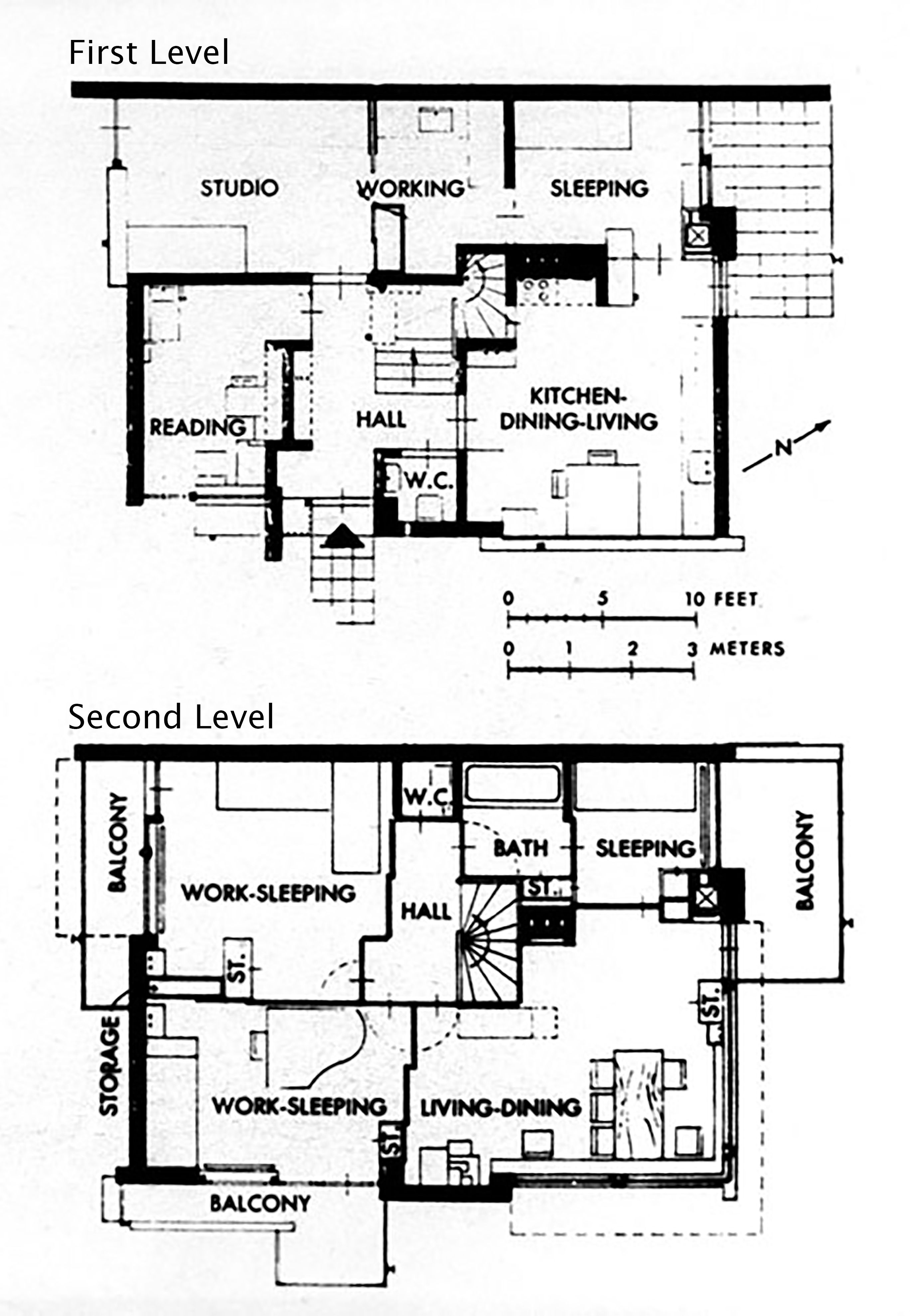 Gerrit Rietveld House Of Truus Schroder Schrader Plans First And Second Floor Utrecht 1924 Schroder House House Floor Plans Floor Plans