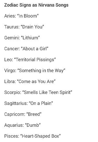 zodiac signs as nirvana songs aries pinterest smells