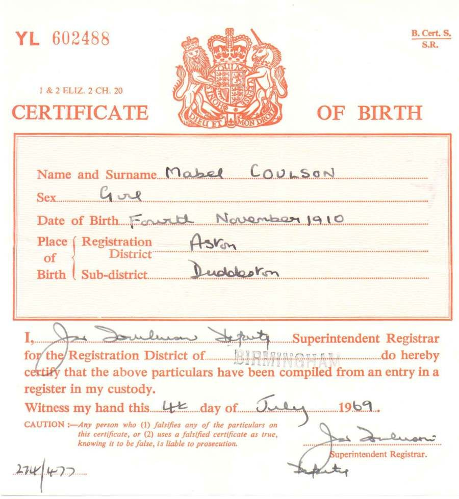 Birth Certificate, district registrar, short form, 1910 - Mabel Coulson